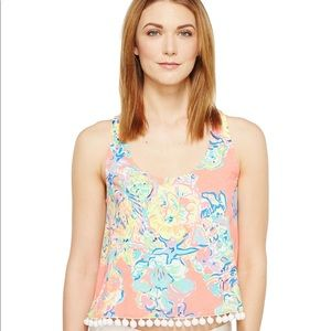 Lilly Pulitzer Shirley Tank Pom Pom Coral Reef Med